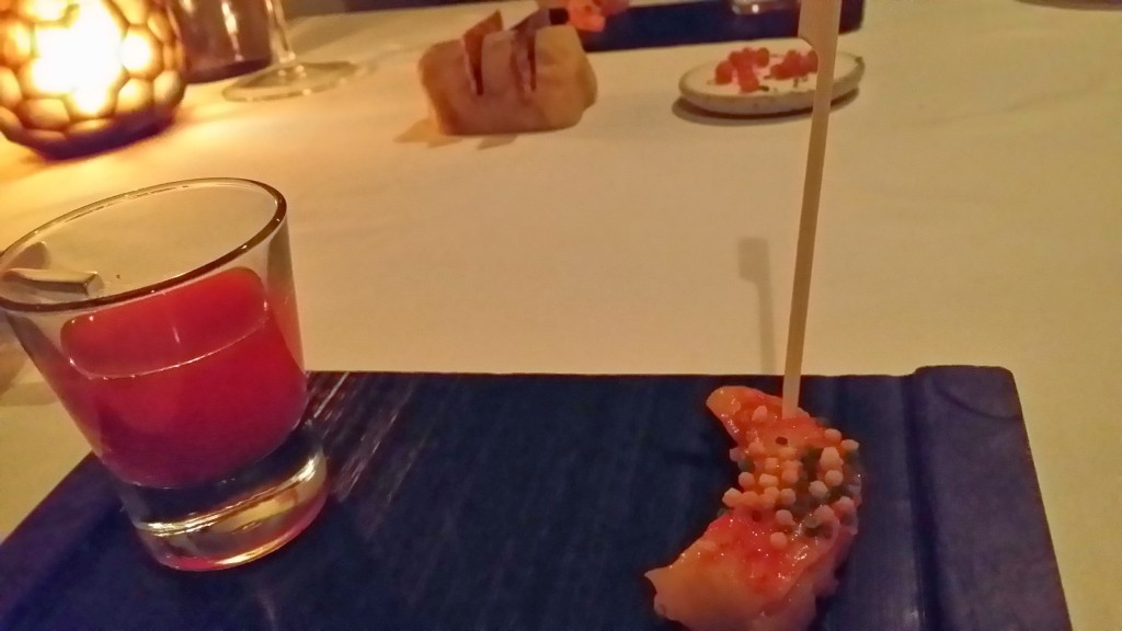 Amuse bouche #2 Spot prawn and  tomato tapioca shot