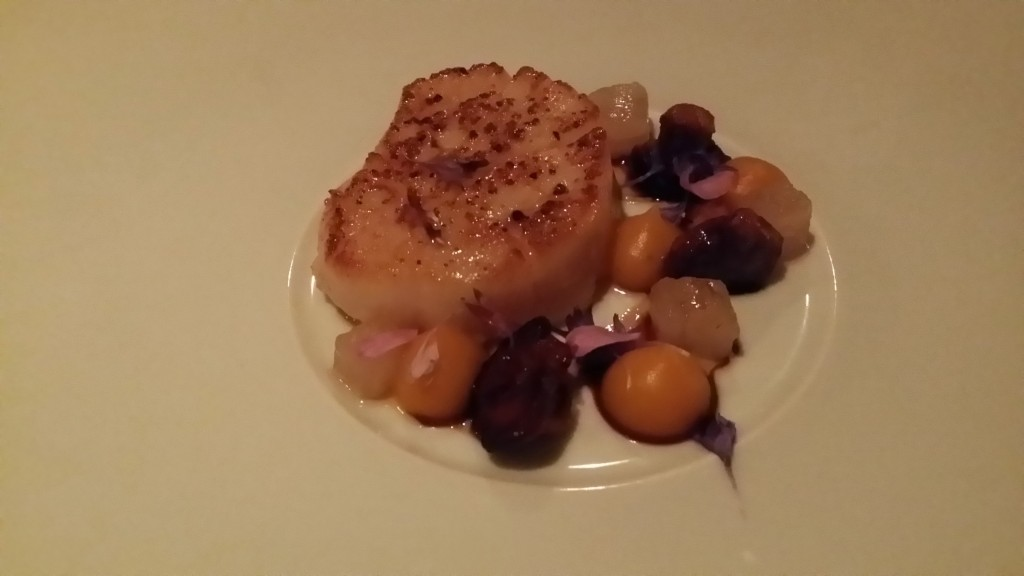 Hokkaido Scallop (Japan)- button chanterelle, lardo de bellota, red kuri squash, aged vinegar