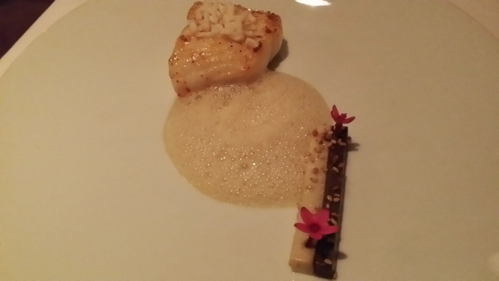 Wild Alaskan halibut (sitka) - peacock family farms rosa bianca eggplant, smoked miso, puffed rice